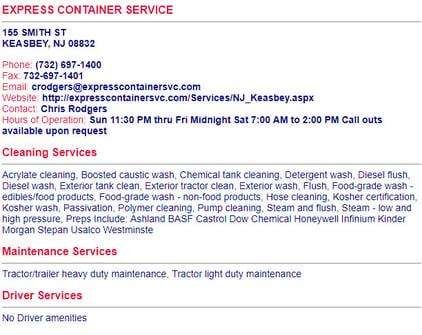 tank wash directory